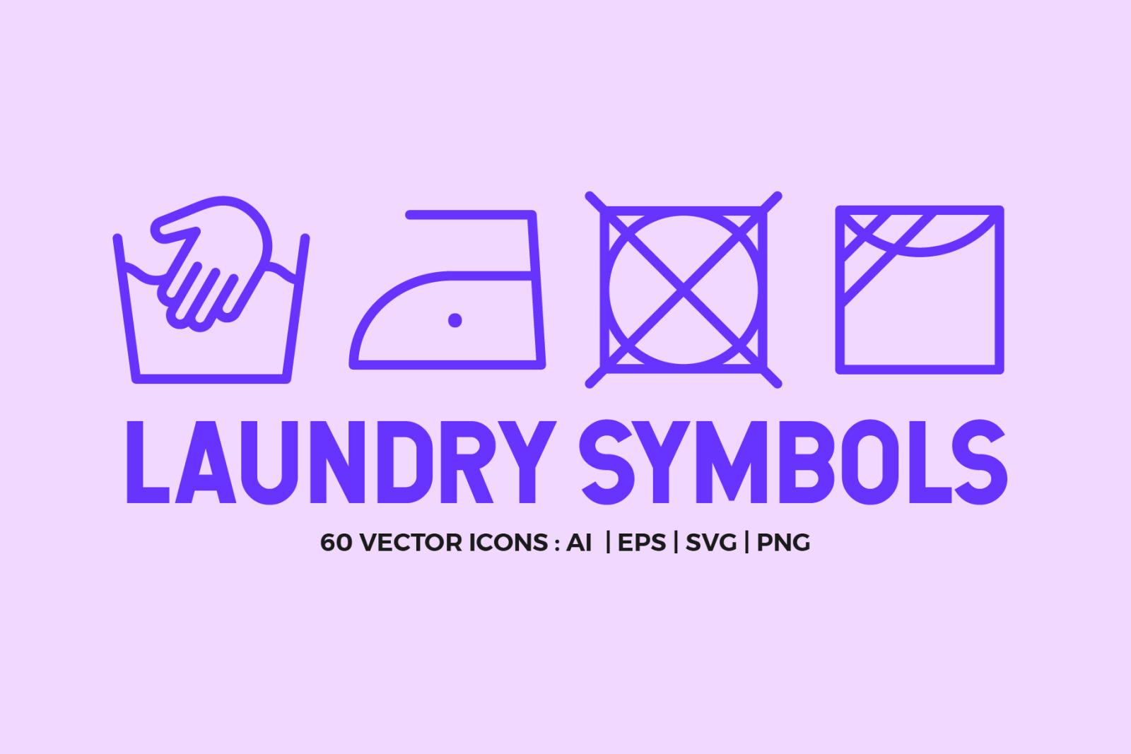 Laundry Symbols   Line icons