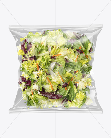 Plastic Bag w/ Salad Mockup