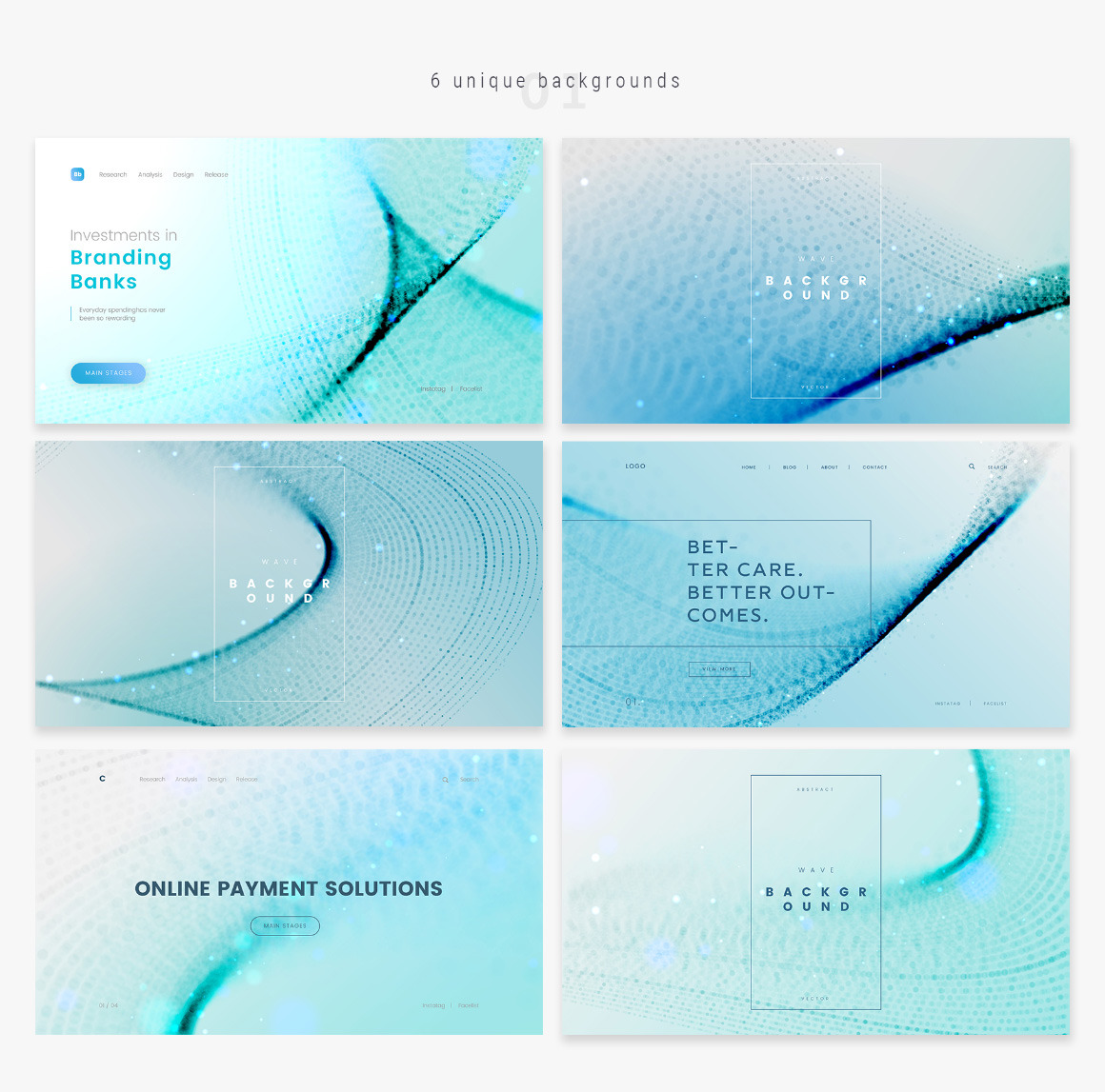 Blue Wavy Backgrounds + Bonus: Web Headers