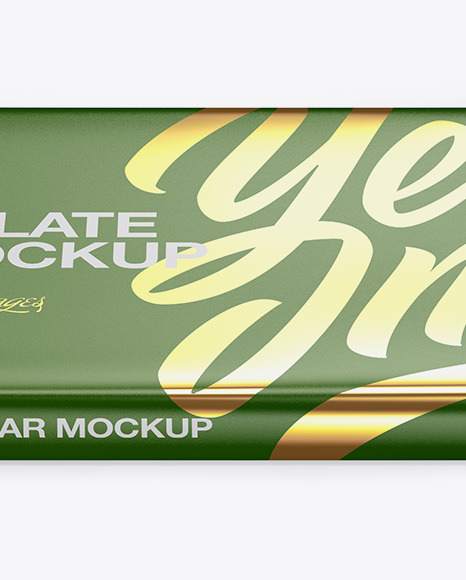 Glossy Chocolate Bar Mockup - Front View (High Angle Shot)