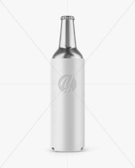 Metallic Drink Bottle w/ Holder Mockup