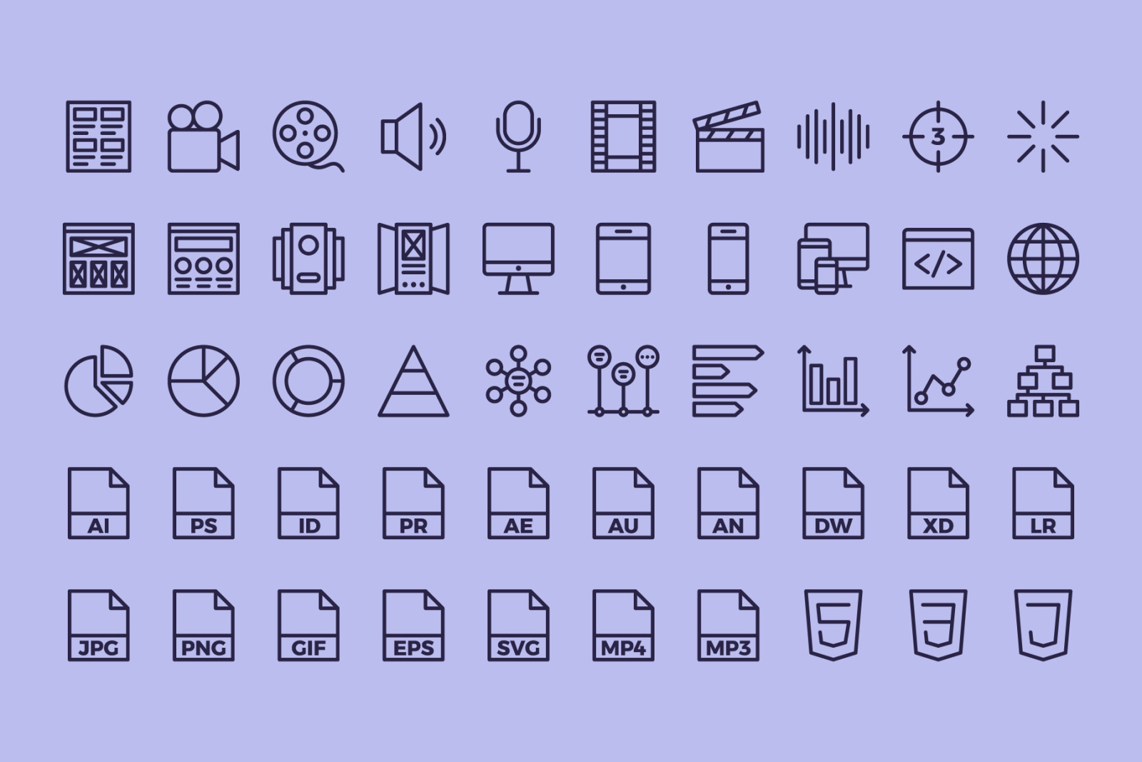 100 Graphic Design | Line Icons