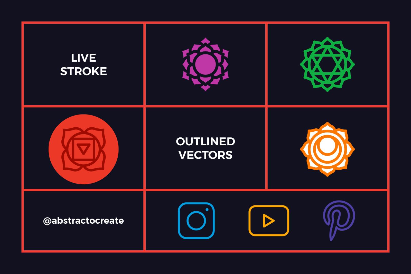 Chakra Symbols Set Spiritual Vector