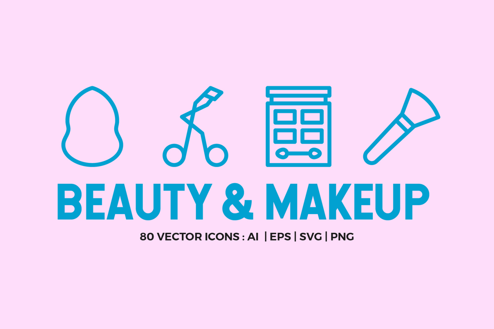 80 Beauty & Makeup Line Icons