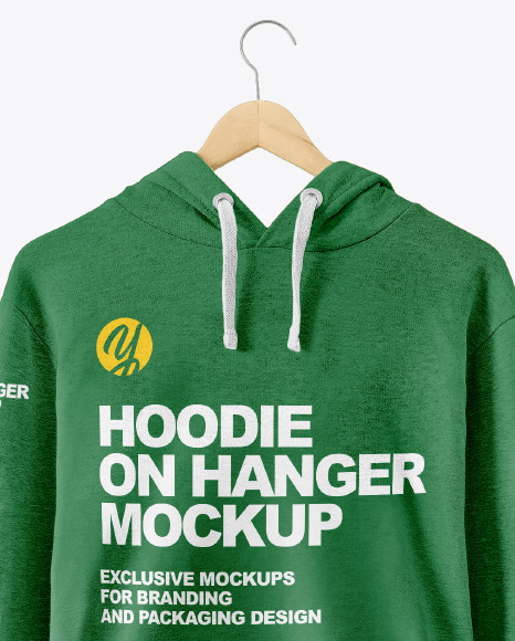 Hoodie On Hanger Mockup In Apparel Mockups On Yellow Images Object
