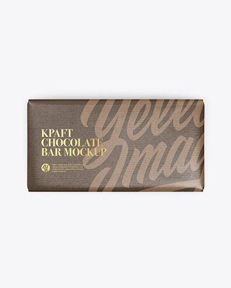 Kraft Glossy Chocolate Bar Mockup - Top View