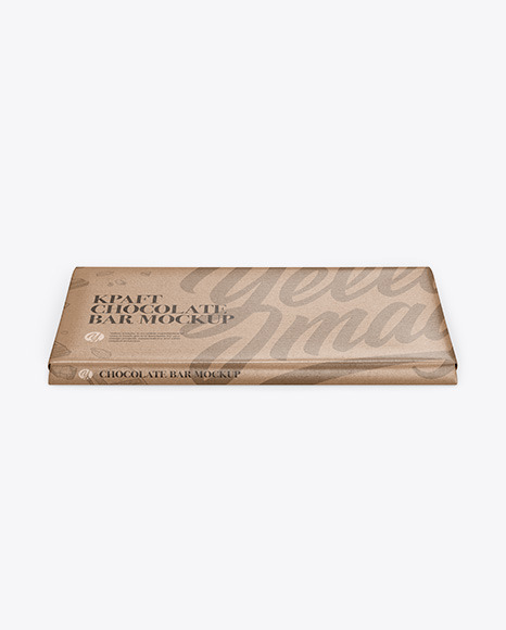 Kraft Glossy Chocolate Bar Mockup - Front View (High Angle Shot)