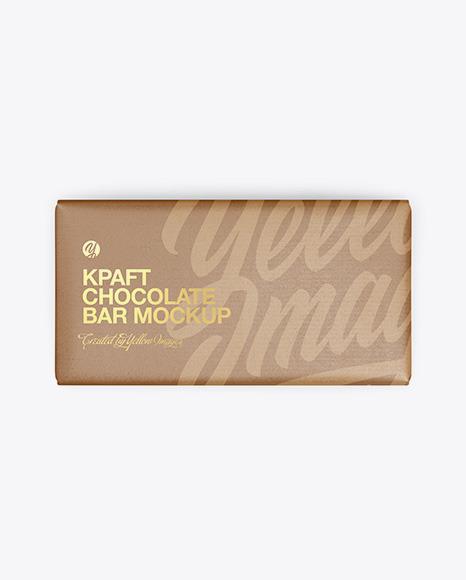 Kraft Matte Chocolate Bar Mockup - Top View