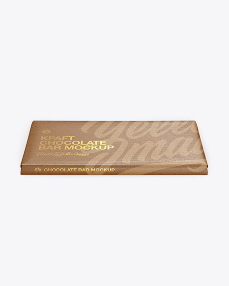Kraft Matte Chocolate Bar Mockup - Front View (High Angle Shot)