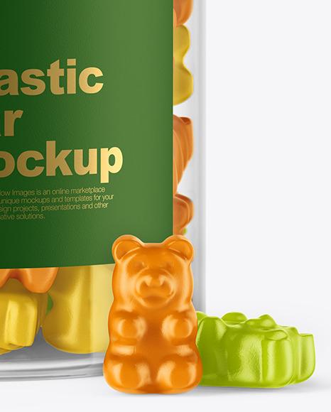 Plastic Jar with Gummies Mockup
