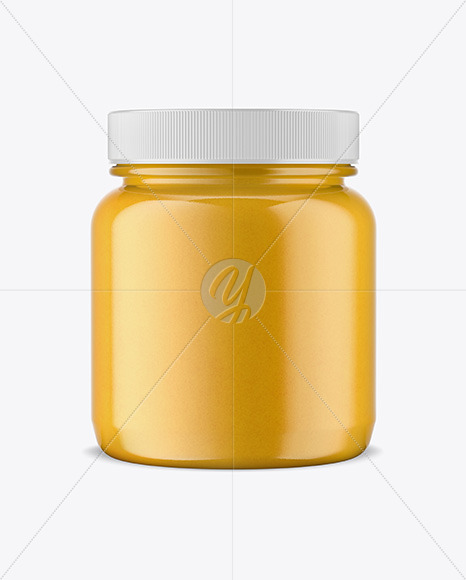 Plastic Jar w/ Honey Mockup
