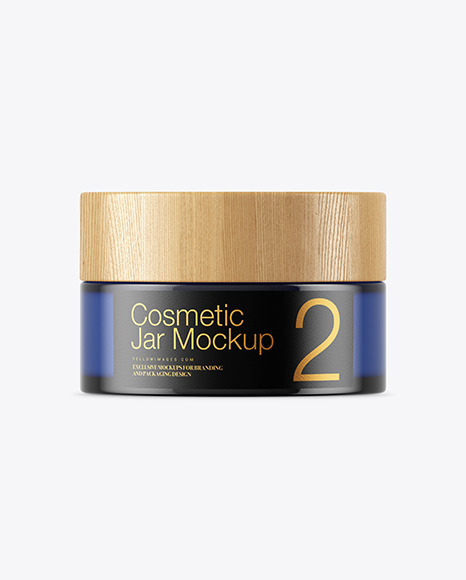 Download Blue Glass Cosmetic Jar With Metallic Cap Mockup Front View PSD - Free PSD Mockup Templates