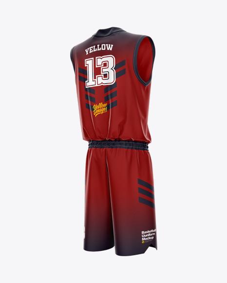 Basketball Uniform Mockup - Back Half Side View
