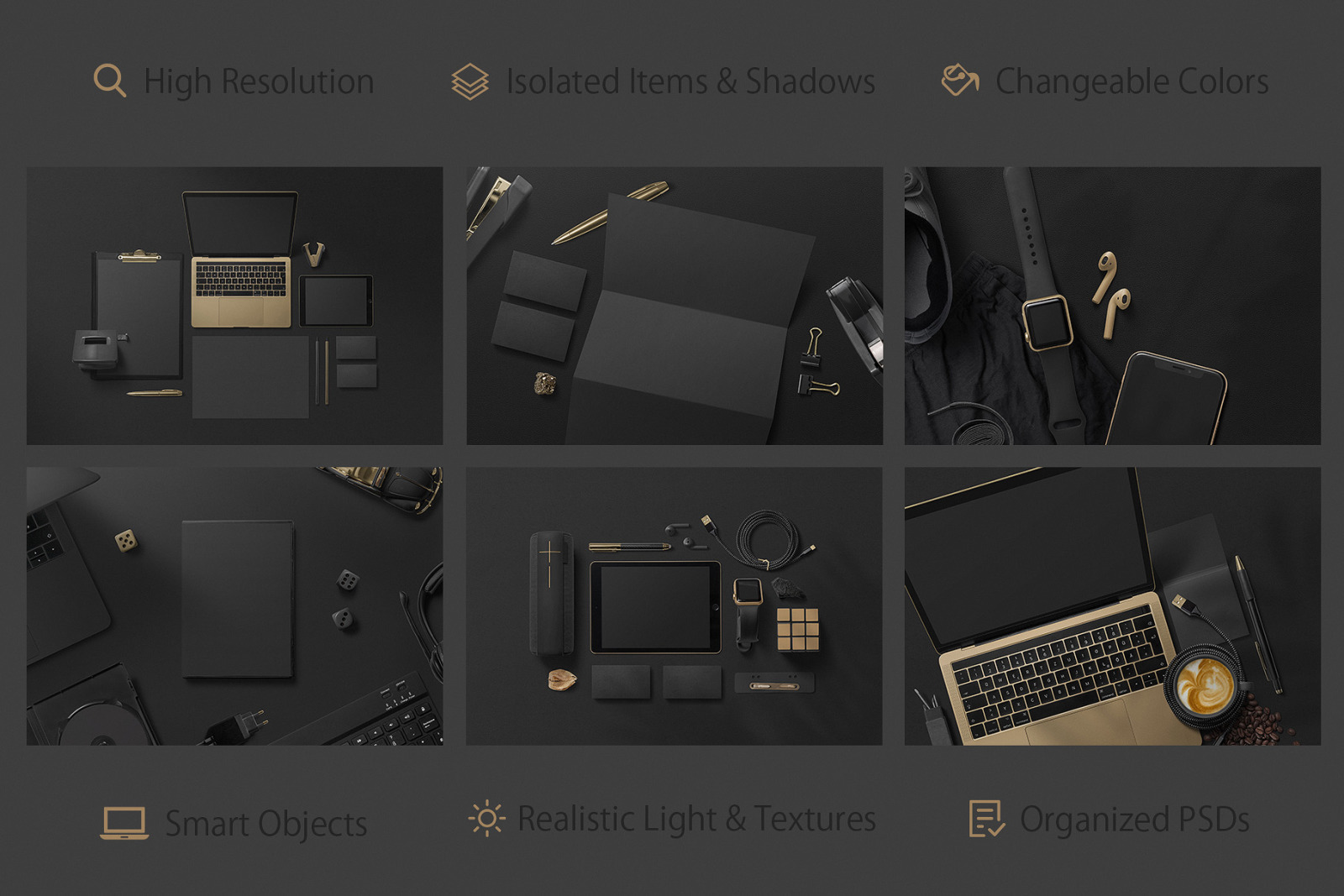 Black Branding Mockups Vol 1 In Stationery Mockups On Yellow