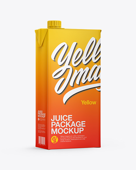 Juice Carton Package Mockup - Half Side View