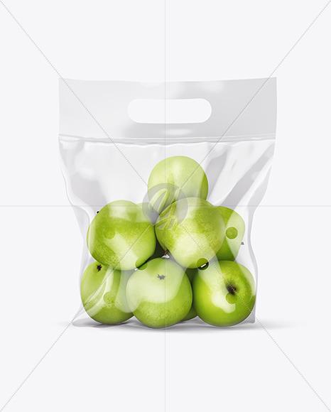 Plastic Bag with Green Apples Mockup