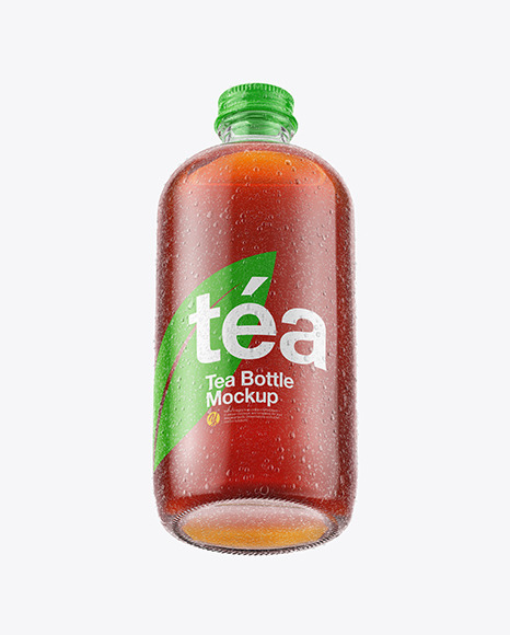 Ice Tea Bottle in Shrink Sleeve with Condensation Mockup