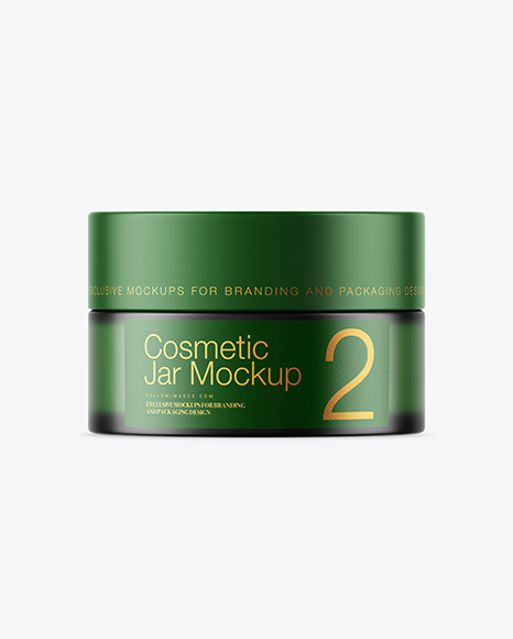 Download Frosted Green Glass Cosmetic Jar PSD Mockup