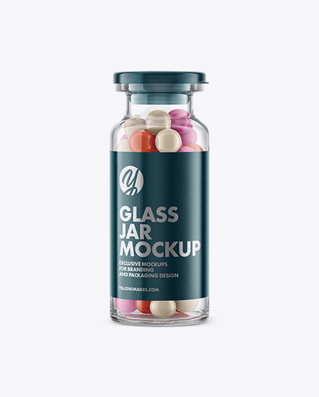 Glass Jar with Pills Mockup