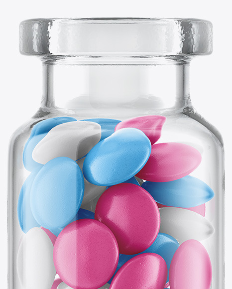 Glass Jar with Tablets Mockup