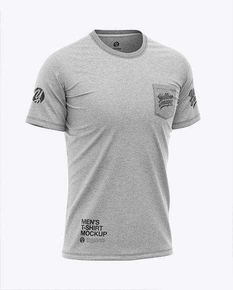 Men's Heather Pocket T-Shirt - Front Half-Side View