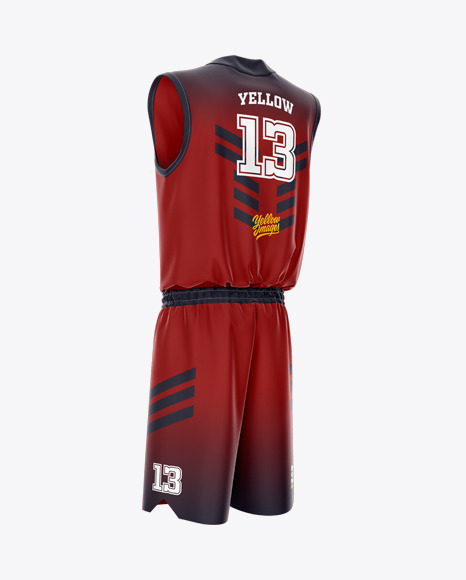 Basketball Uniform Mockup - Back Half Side View