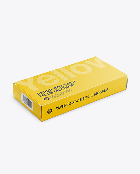 Download Paper Pills Box Halfside View 2020highangle shot PSD Mockup