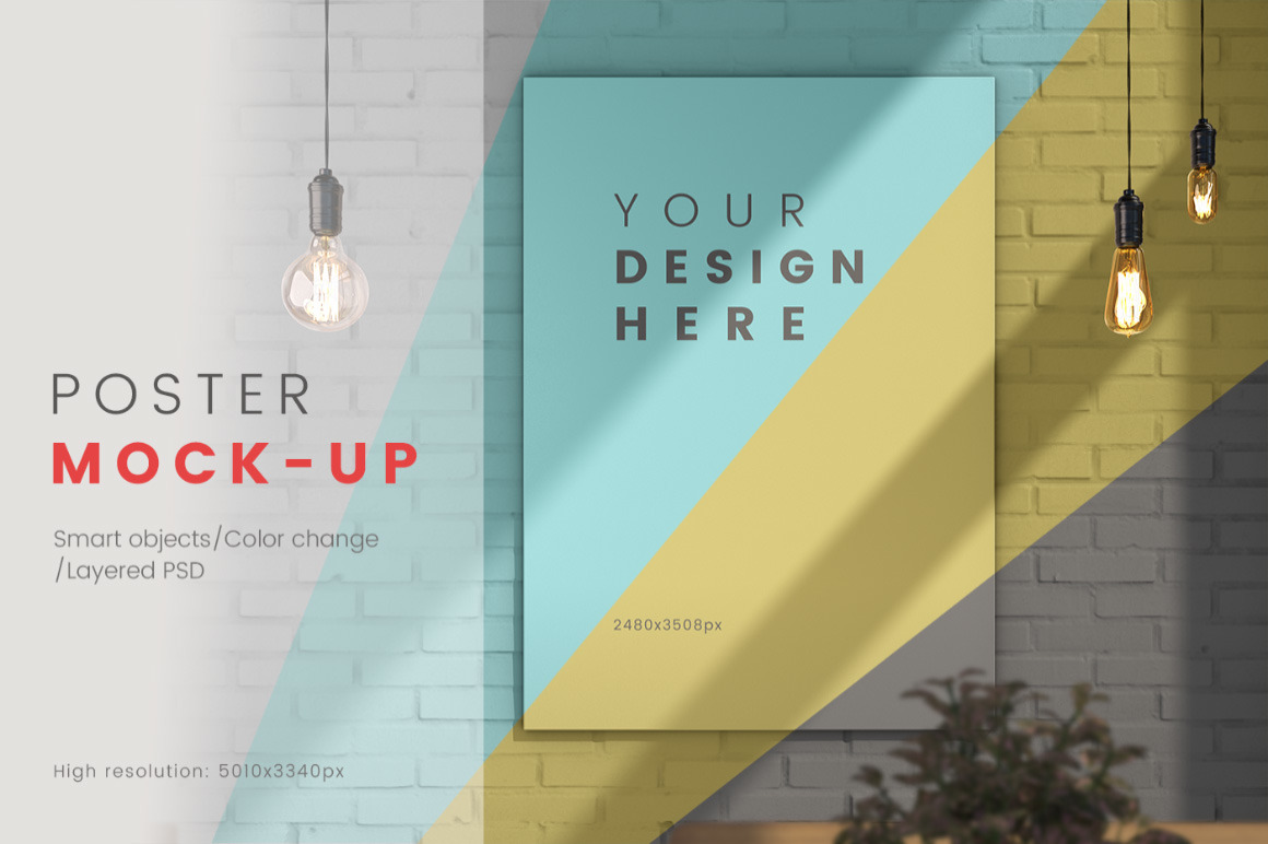 Download Poster On The Wall Psd Mockup In Indoor Advertising Mockups On Yellow Images Creative Store PSD Mockup Templates