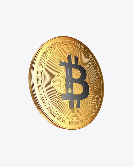 Download Golden Bitcoin PSD Mockup