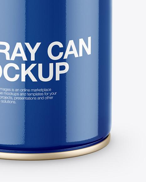 Opened Glossy Spray Can Mockup