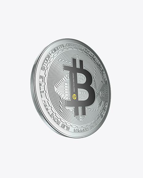 Download Silver Bitcoin PSD Mockup