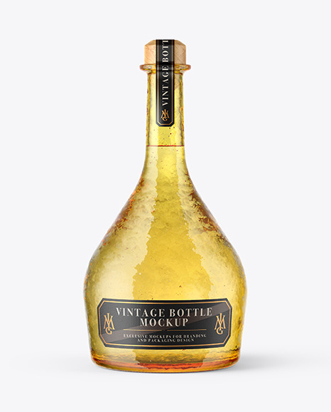 Yellow Antique Bottle Mockup