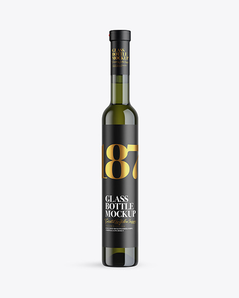 Download Green Glass White Wine Bottle PSD Mockup