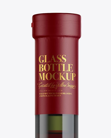 Green Glass Red Wine Bottle Mockup