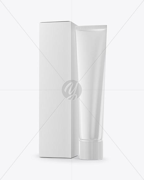 Glossy Cosmetic Tube & Paper Box Mockup