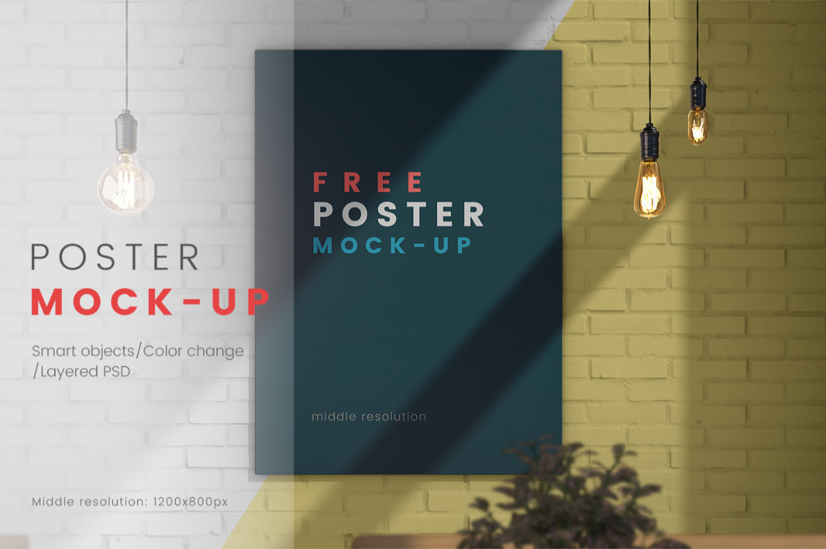 Poster on the wall / PSD mock-up Free