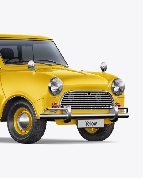 Download Retro Сoupe Car Half Side View PSD Mockup