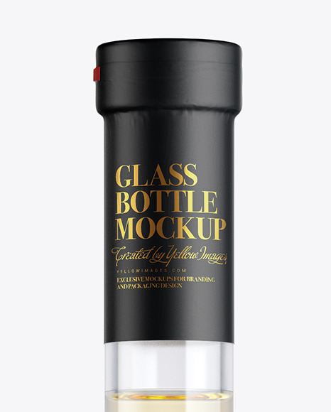 Clear Glass Bottle with White Wine Mockup