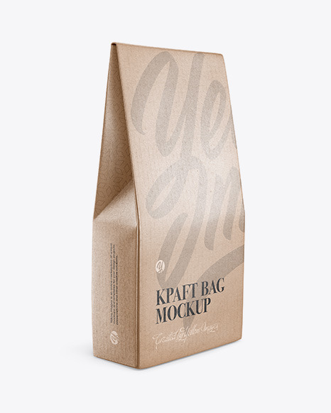 Kraft Glossy Bag Mockup - Half Side View