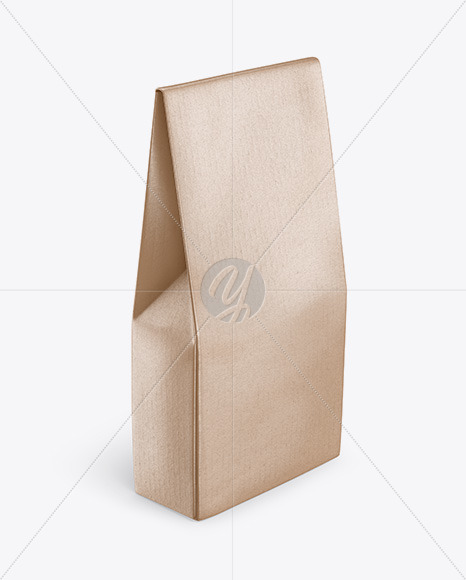Kraft Glossy Bag Mockup - Half Side View (High Angle Shot)