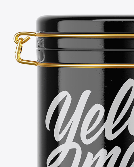 Glossy Ceramic Jar With Locking Lid Mockup