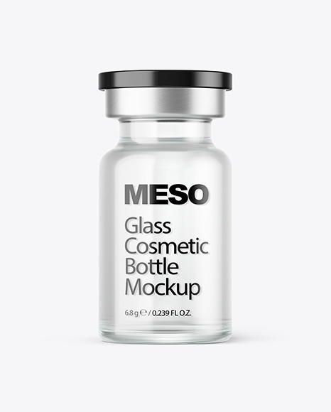 Download Glass Cosmetic Bottle with Liquid PSD Mockup