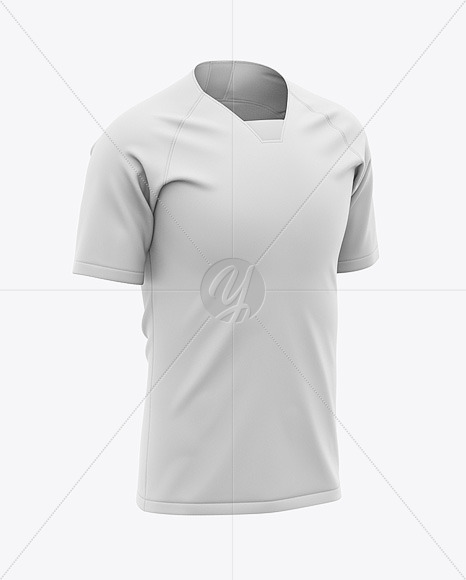 Men's Soccer Raglan Jersey Mockup - Front Half-Side View - Football Jersey T-shirt