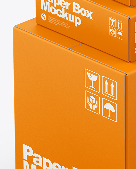 Four Paper Boxes Mockup