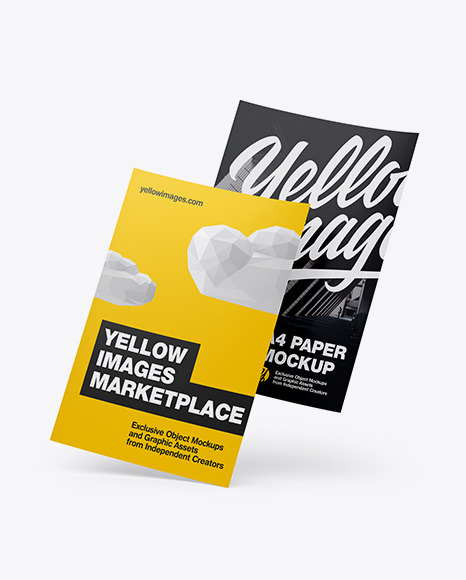 Two A4 Papers Mockup In Stationery Mockups On Yellow Images