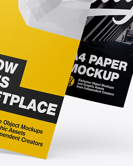Two A4 Papers Mockup In Stationery Mockups On Yellow Images Object