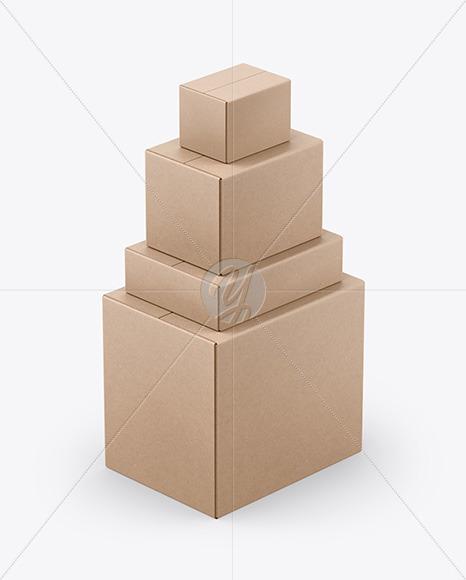 Four Kraft Boxes Mockup