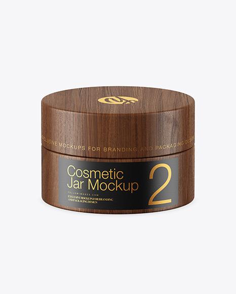 Download Wooden Cosmetic Jar PSD Mockup