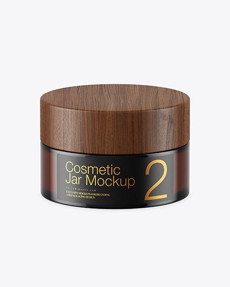 Dark Amber Glass Cosmetic Jar Mockup