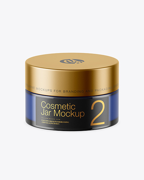 Download Blue Glass Cosmetic Jar PSD Mockup